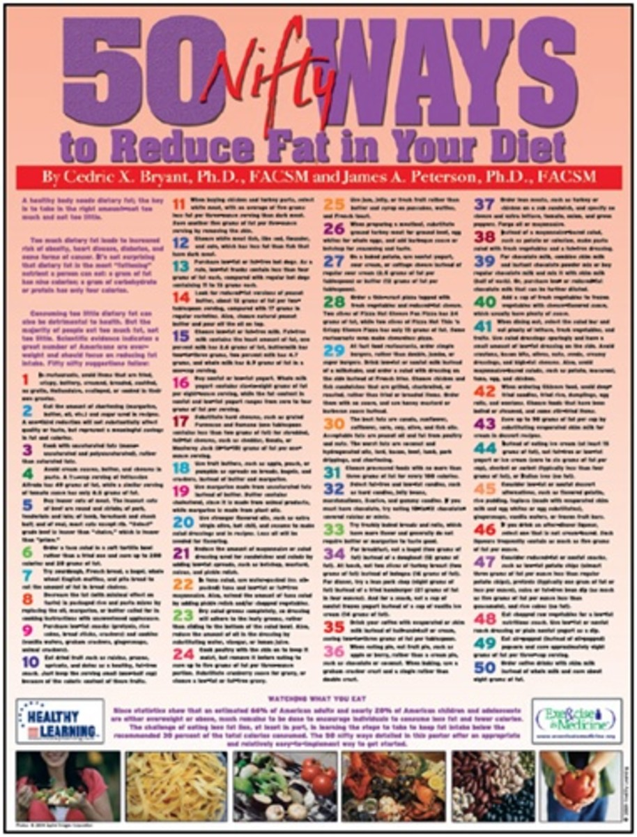 colorful poster with 50 ways to be healthy and cut calories
