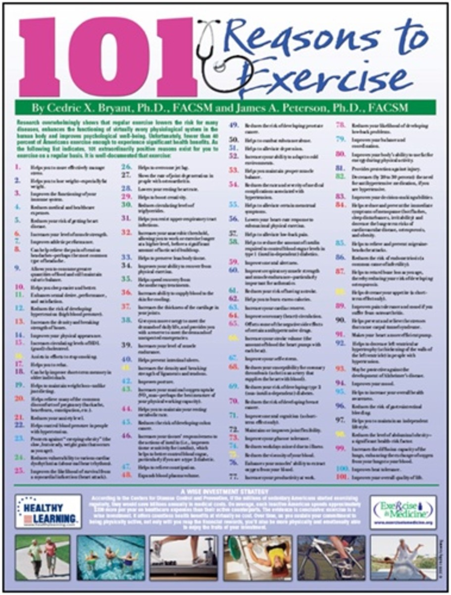 colorful poster with 101 reasons to exercise