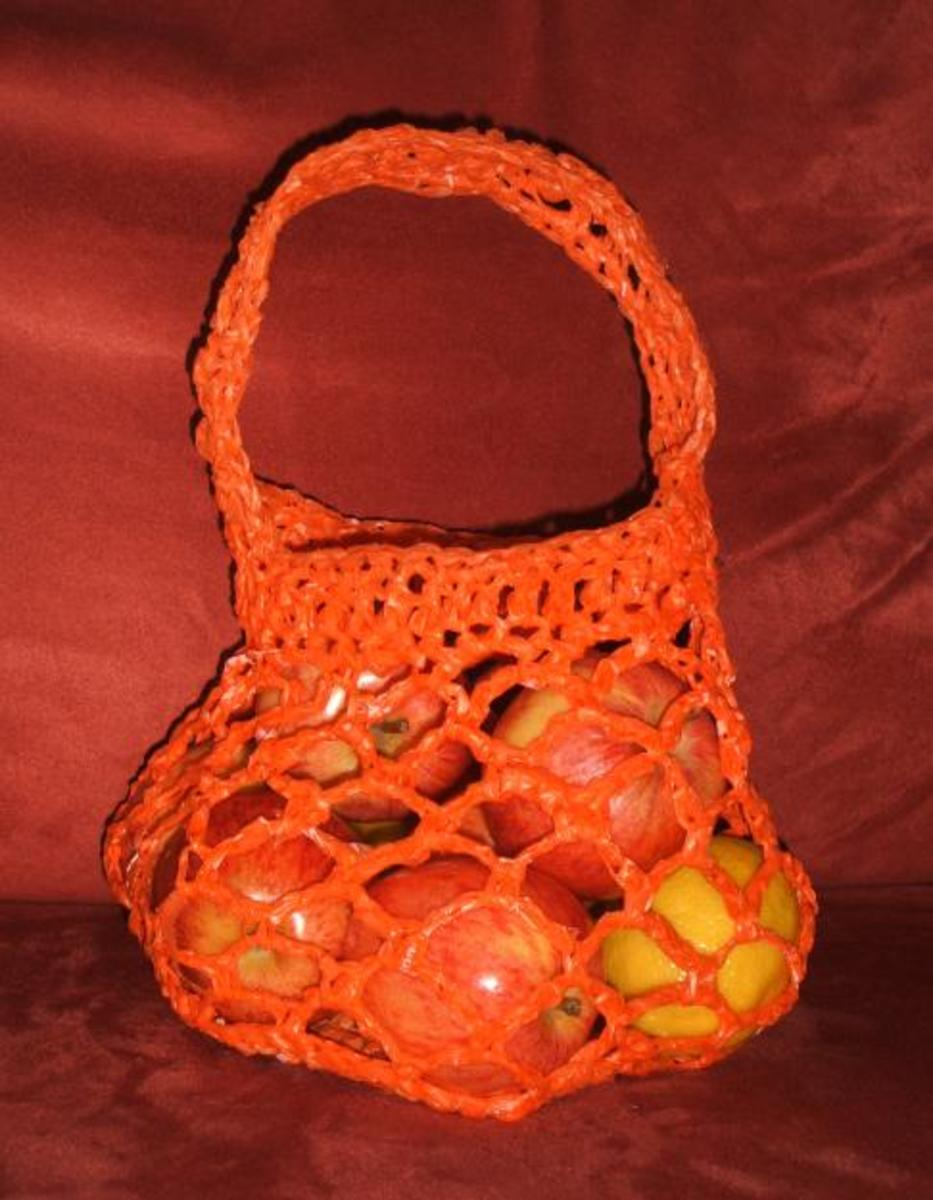 This crochet project was made with plarn. Do you know what plarn is?