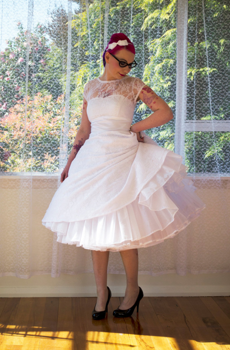 1950s Rockabilly Wedding Dress 'Lacey' with Lace  Overlay, Sweetheart Neckline, Tea Length Skirt and Petticoat – Custom made to suit
