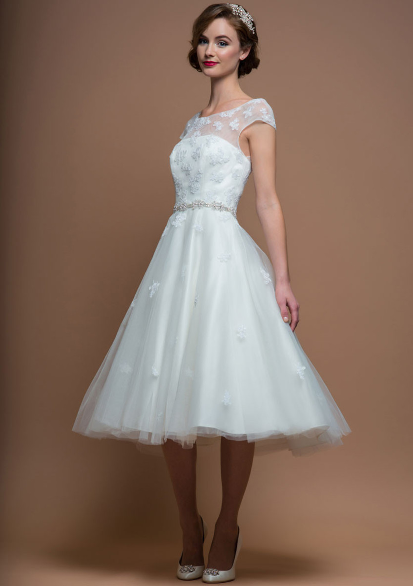 Alice tea length vintage inspired applique wedding dress for 50s inspired wedding dress