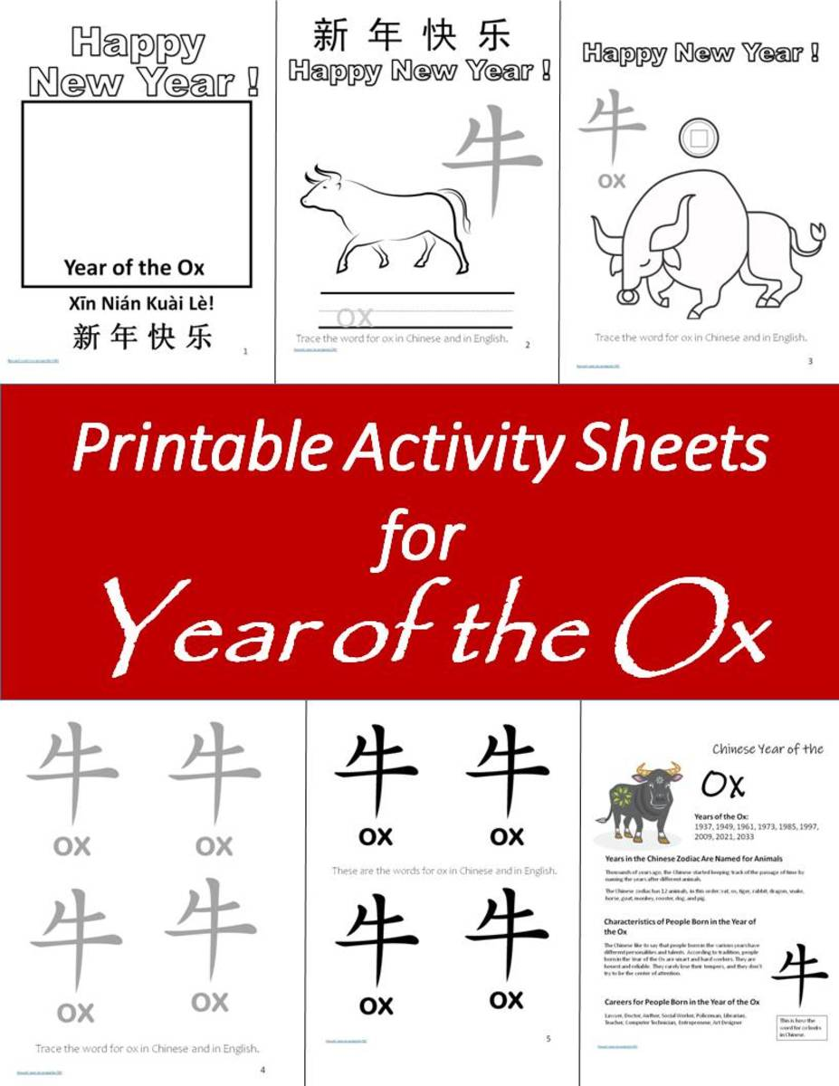 Printable Children's Activity Sheets for Chinese Zodiac Year of the Ox