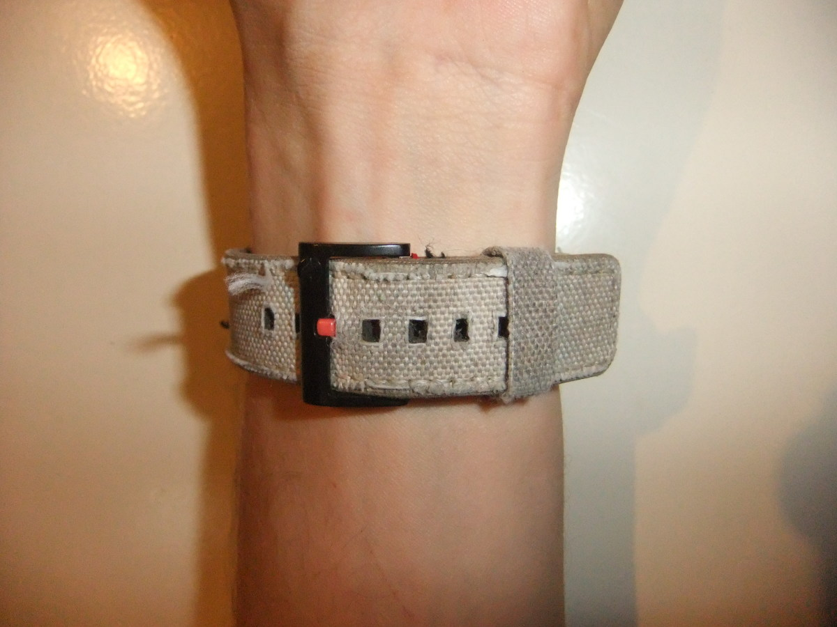The strap comfortably fitting around my wrist