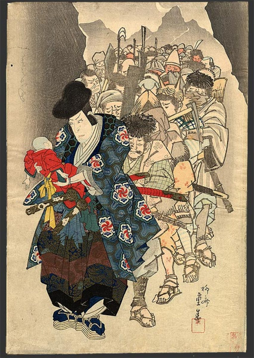 Artwork depicting Ishikawa Goemon and his gang of thugs.