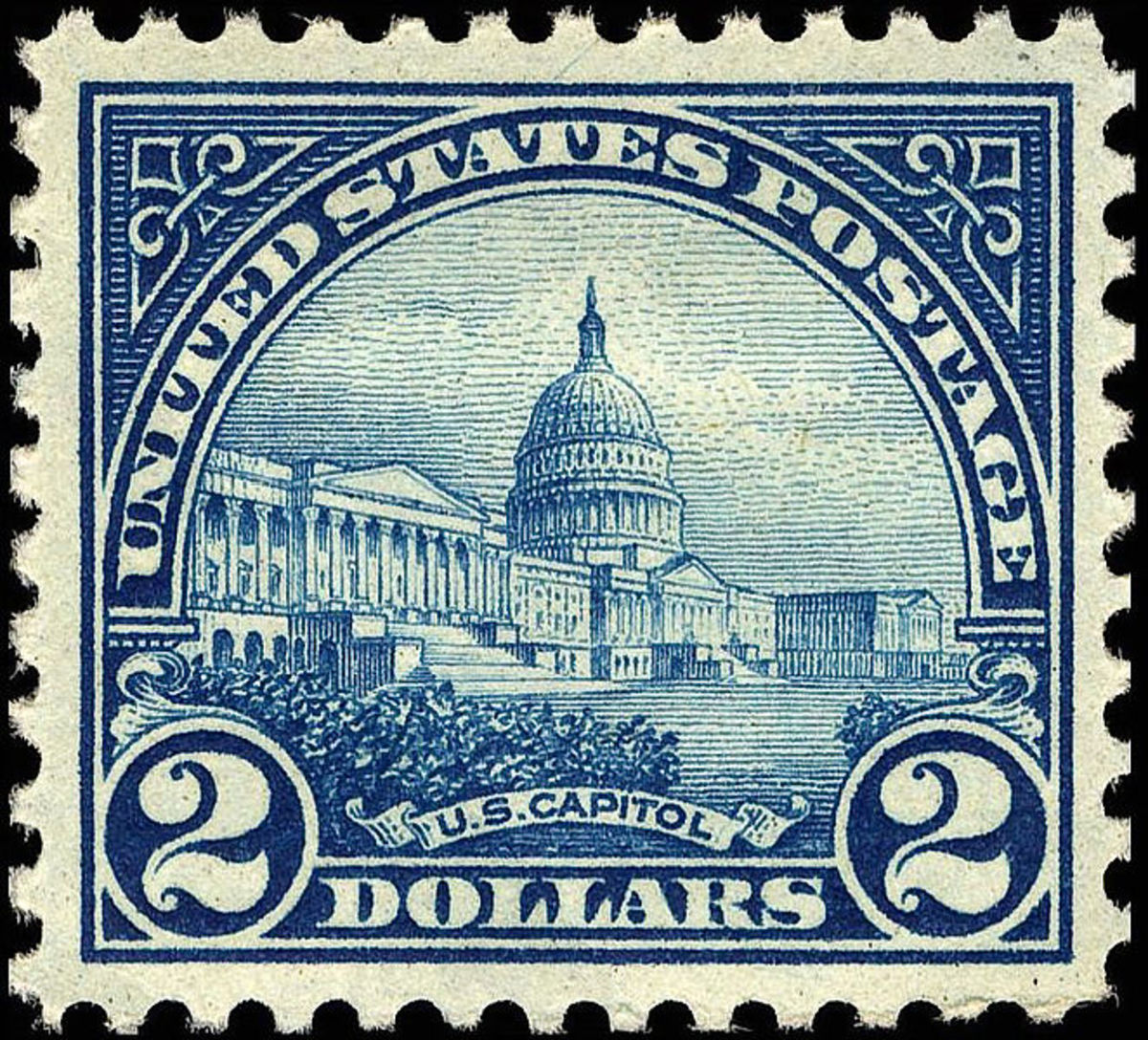Neat old two dollar US stamp, with the US Capitol on it.  From 1922, and in the public domain.