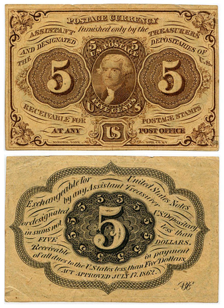 United States Postal Currency, from 1862 or 1863. Isn't this interesting?  In the public domain.