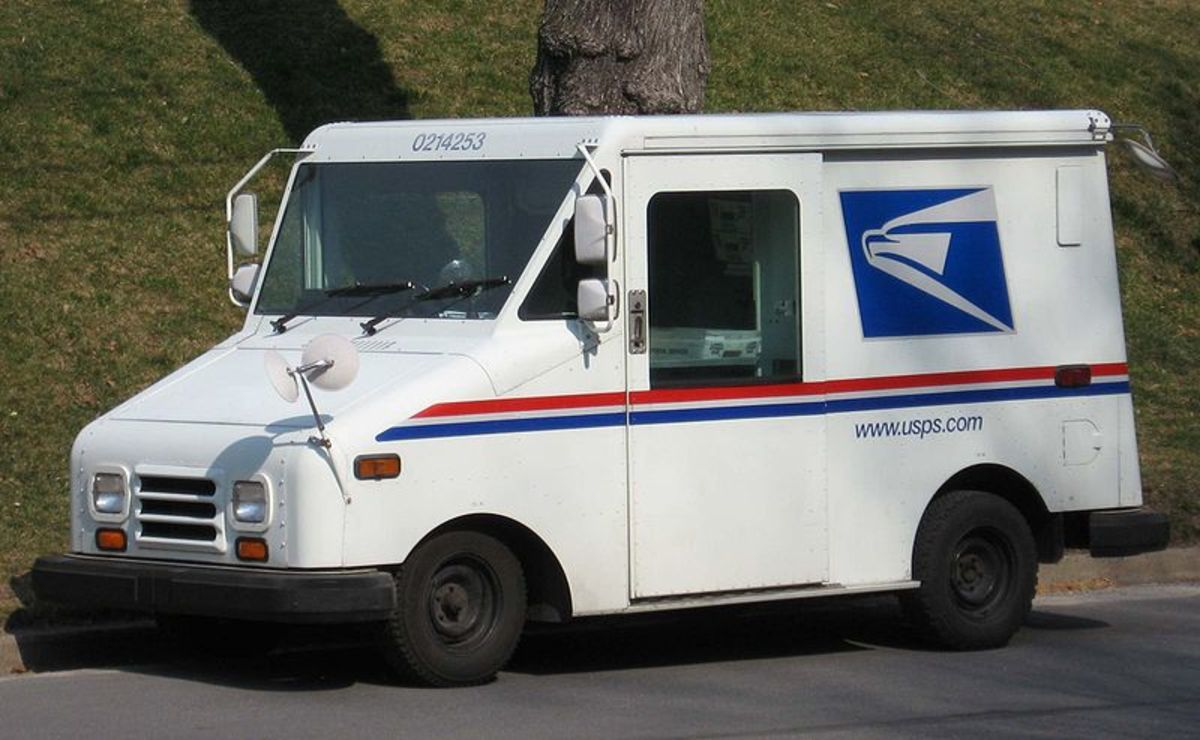 If you live in the USA, you are used to seeing the mail trucks like these!  In the Public Domain