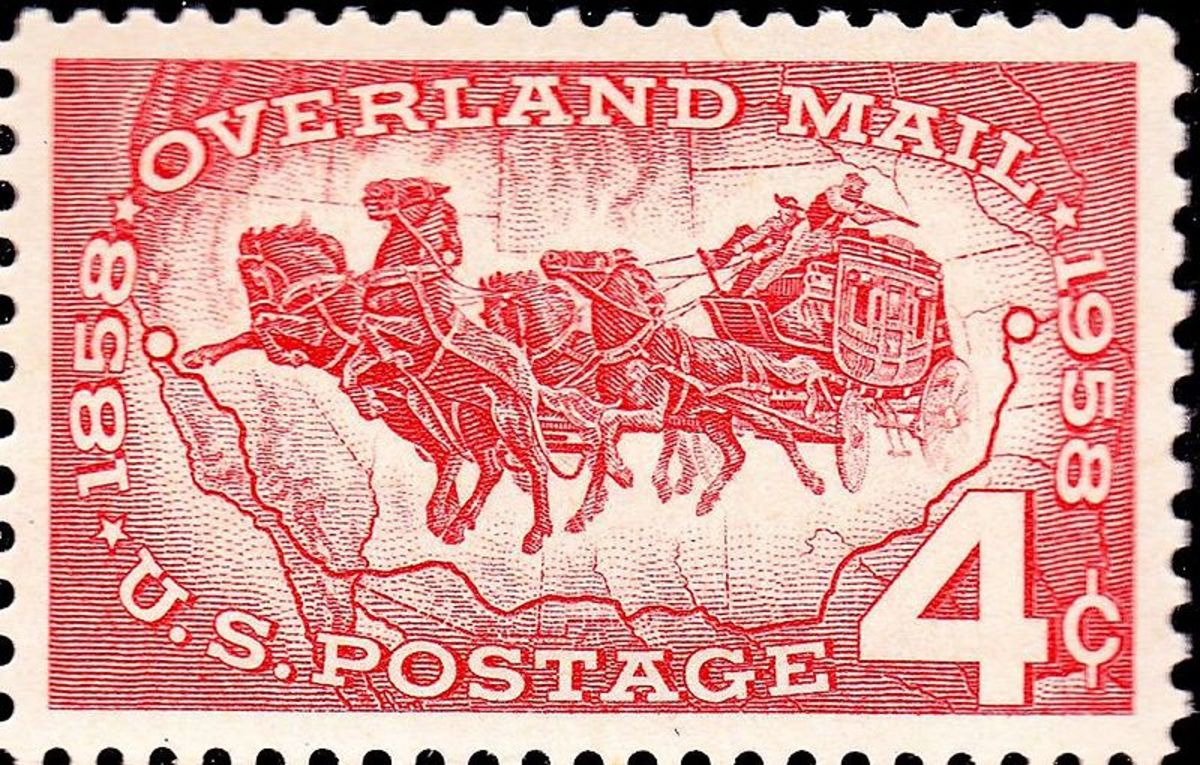 Overland Mail, 1958.  Isn't this a neat stamp?  I love the action in it!  Look at the one guy holding a gun though, and look at those horses run, wow!  Serious business for sure!