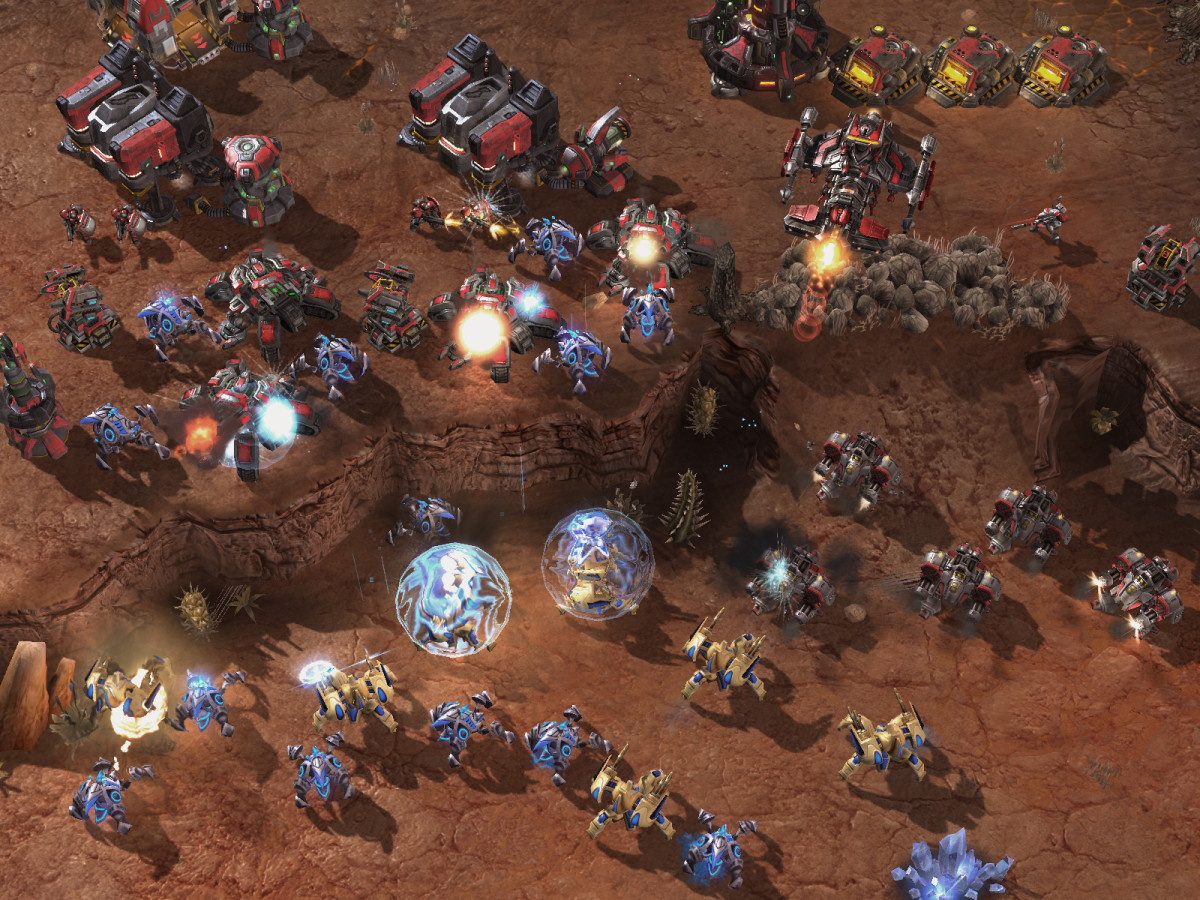 A battle taking place in the game.