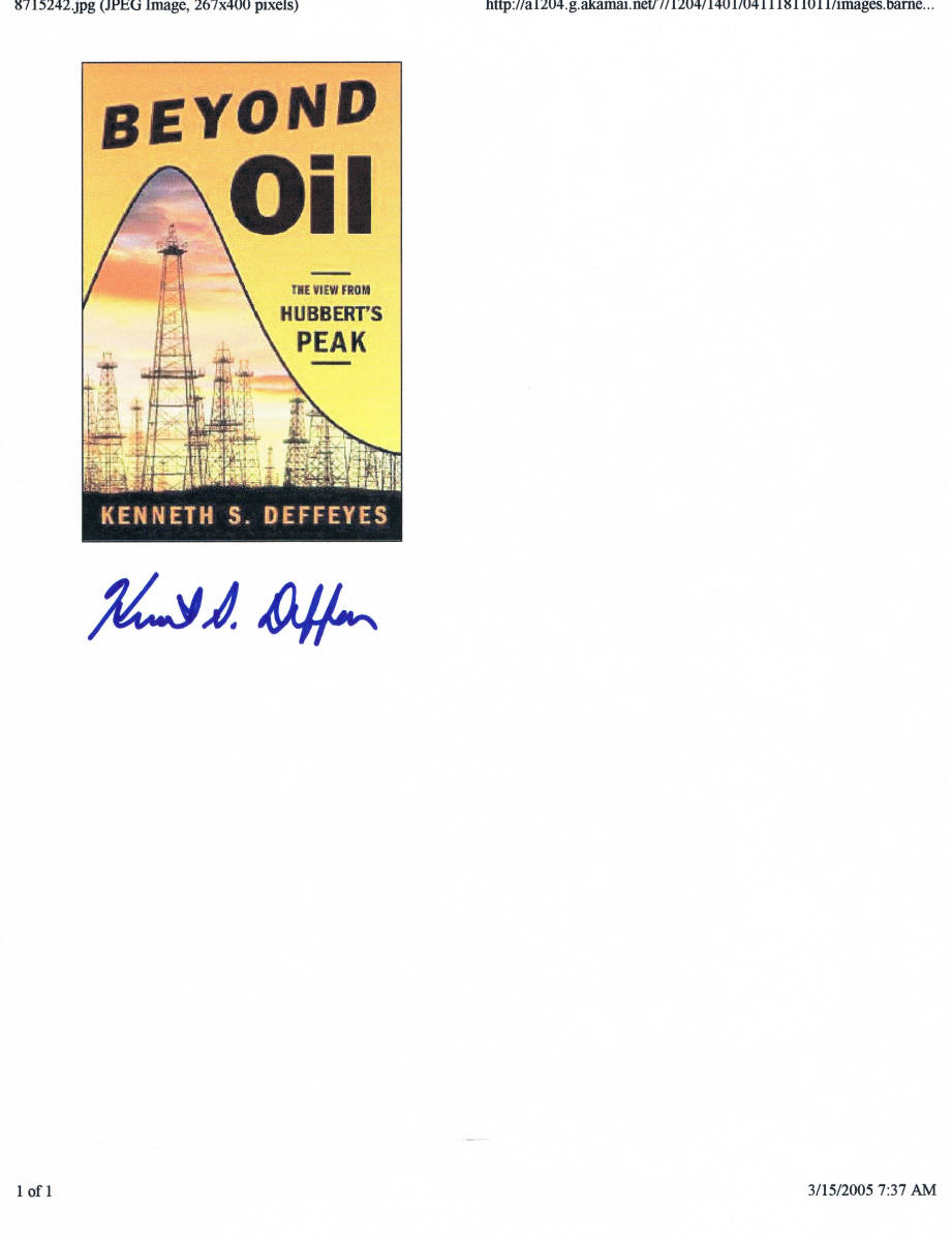 On March 15, 2005, Deffeyes spoke about his book, Beyond Oil: The View From Hubberts Peak, at the Makor/Steinhardt Center. Deffeyes claims that world oil production peaked on December 16, 2005.
