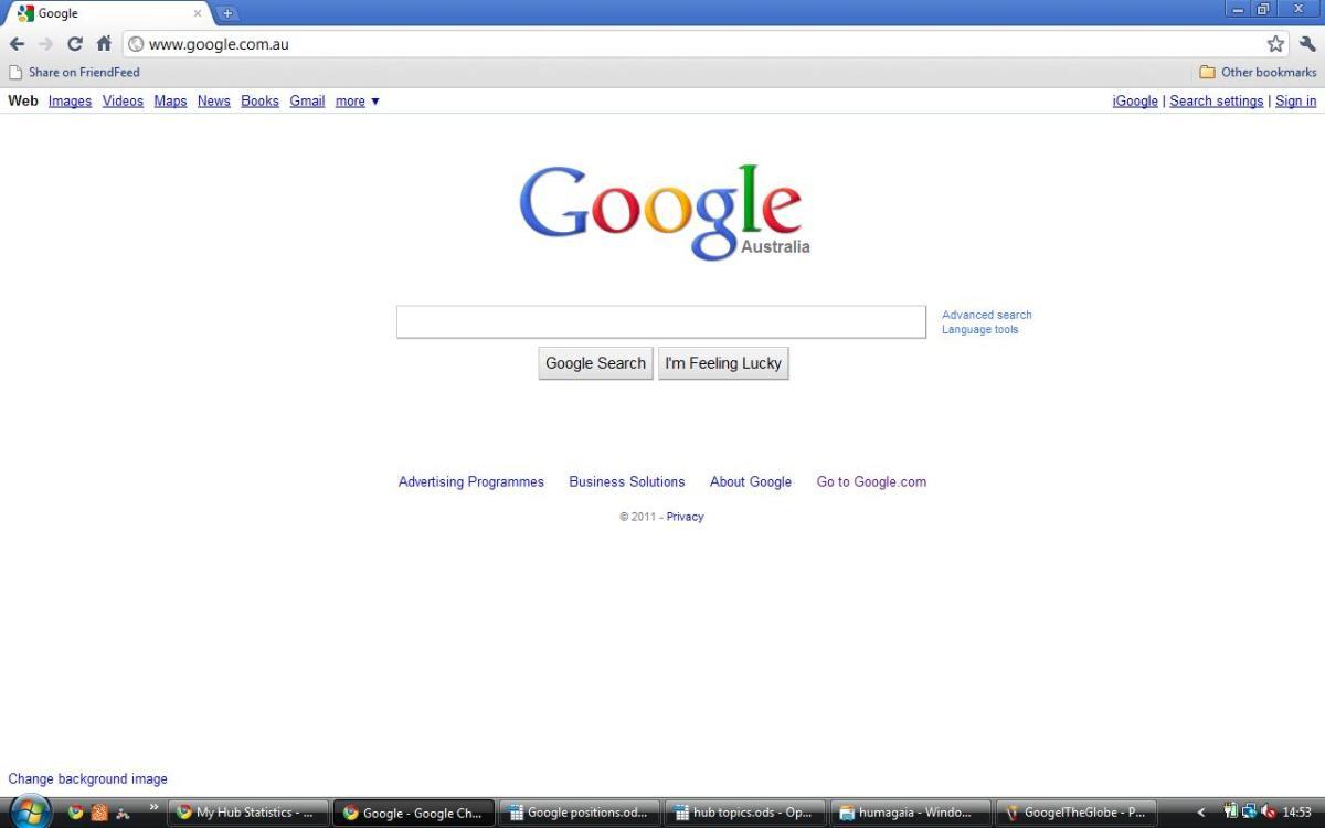 Australia Google AUS: Google Oz: Search, Webhp, English:  www google com au