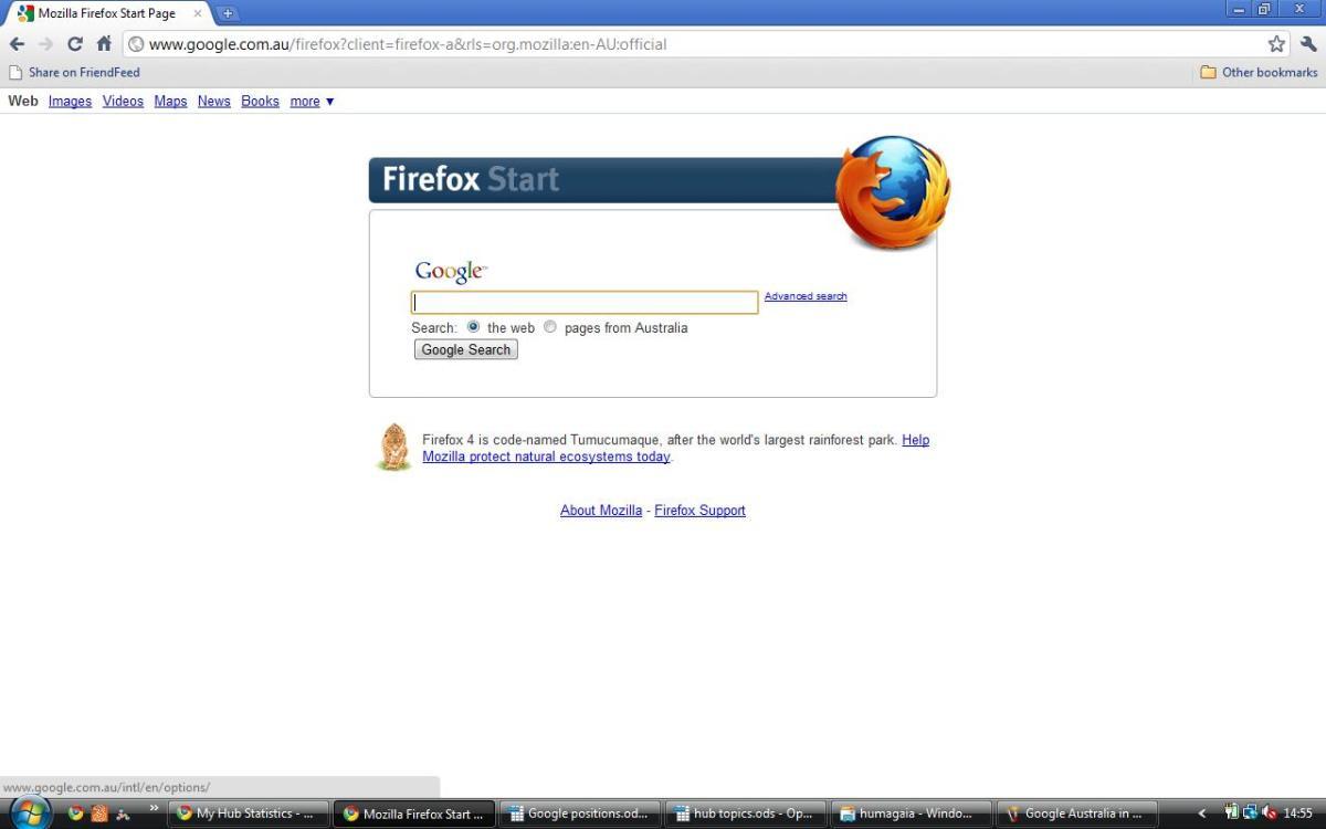 Firefox version of Google Australia in English