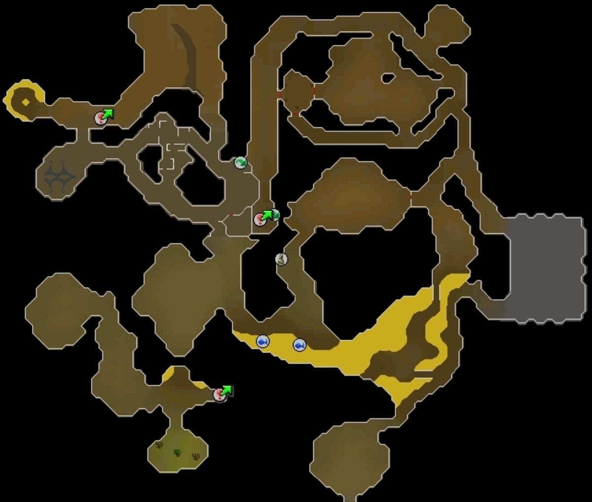 Taverly Dungeon -  You start at the green arrow in the center. The exit ladder is the green arrow to the northwest.
