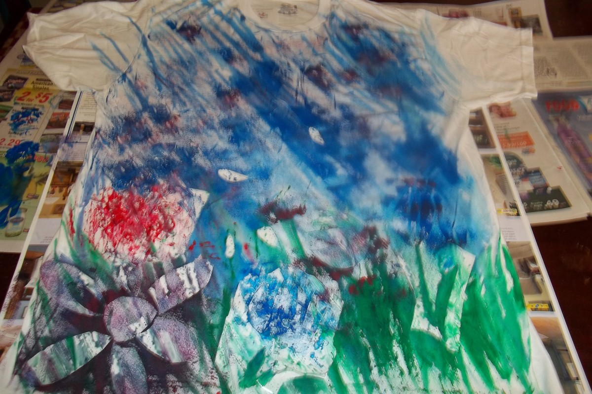 Painted t shirt with templates on it