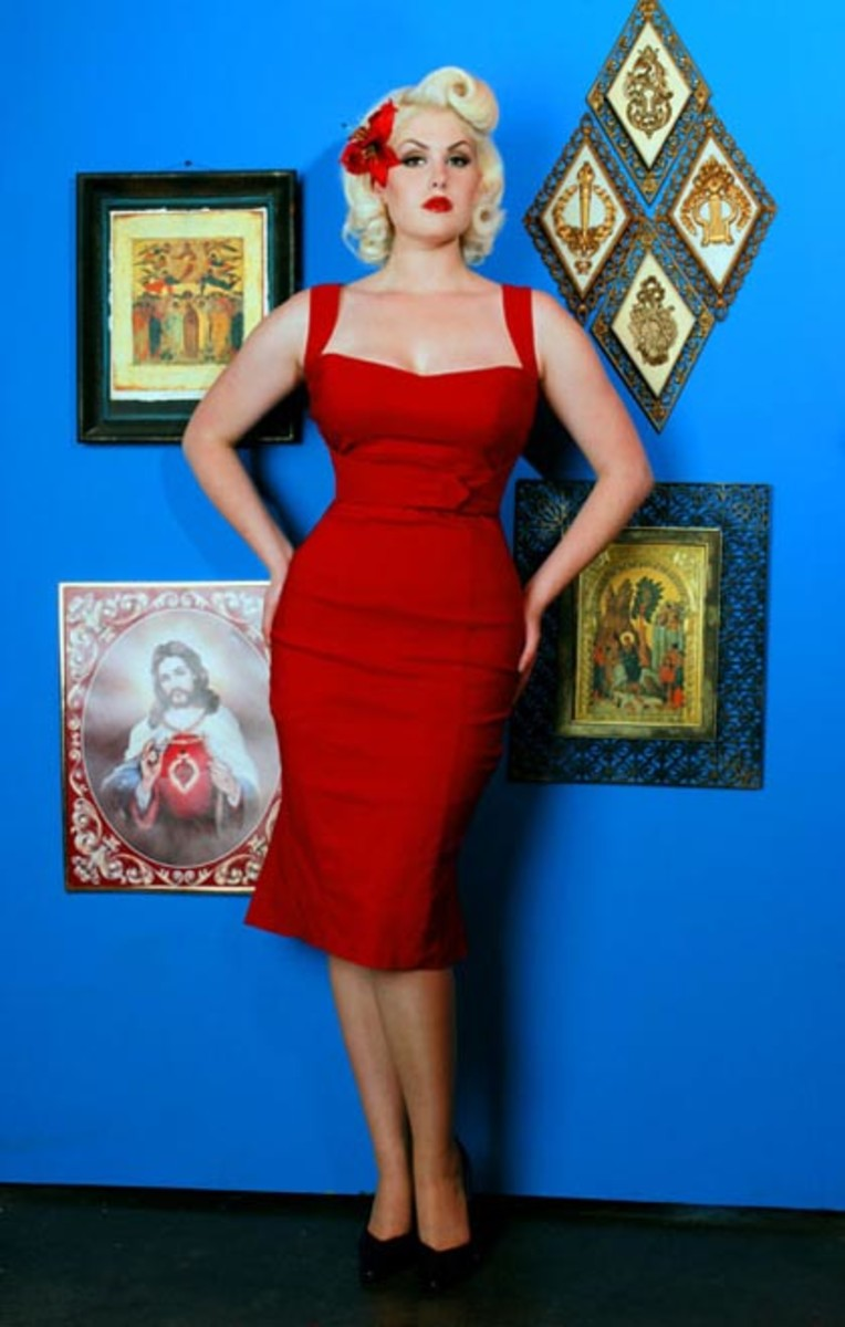 Look red hot in this 60s inspired wiggle dress