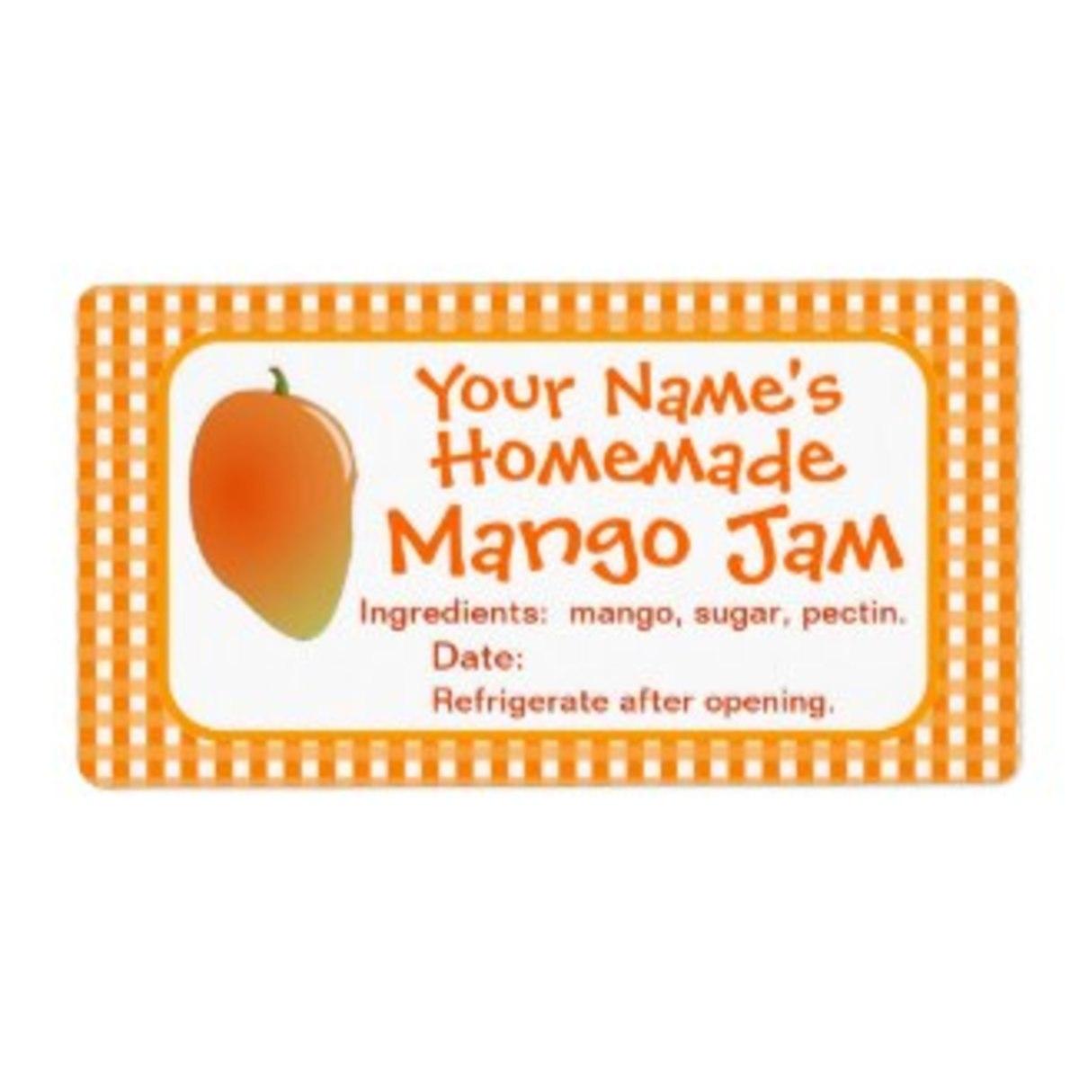 Personalized Mango Jam Label