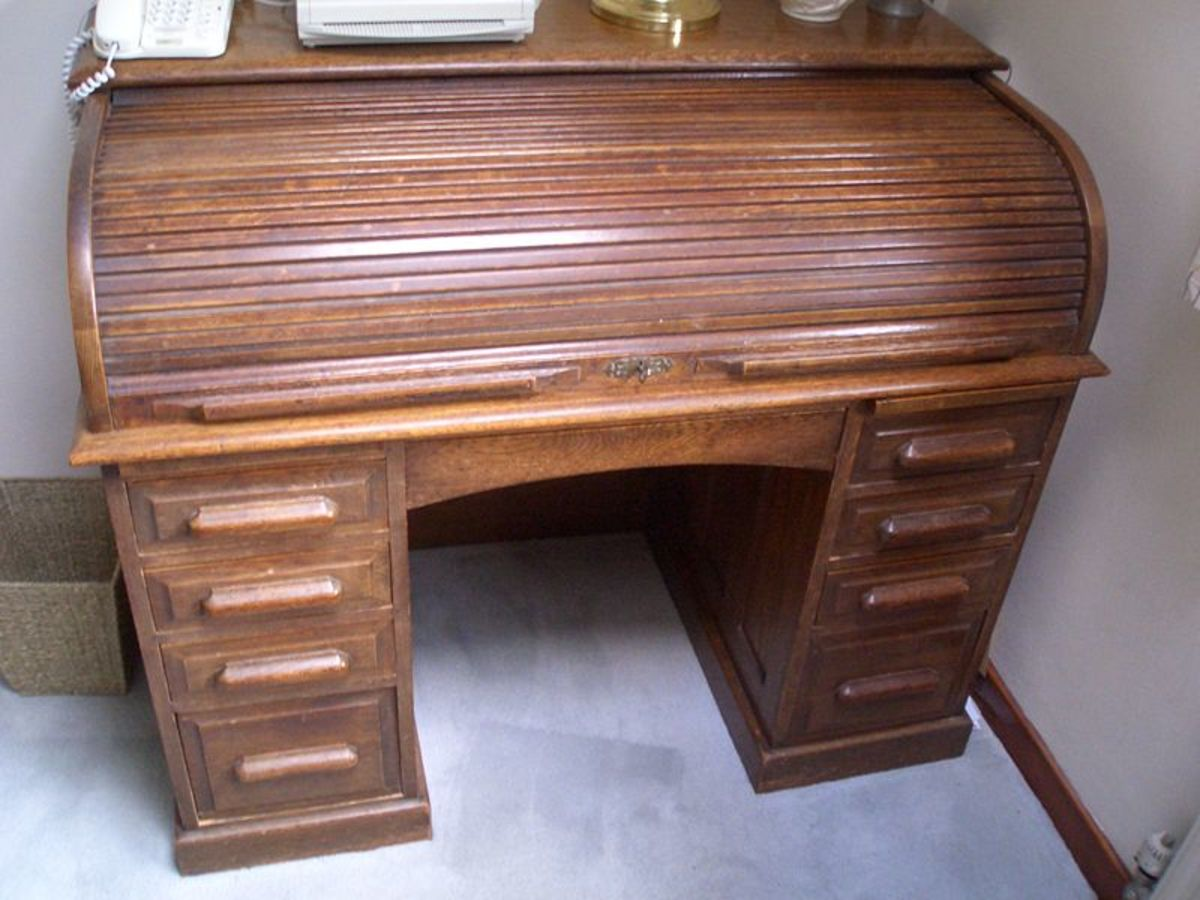 Roll-top desks were massed produced in the late 1800s.