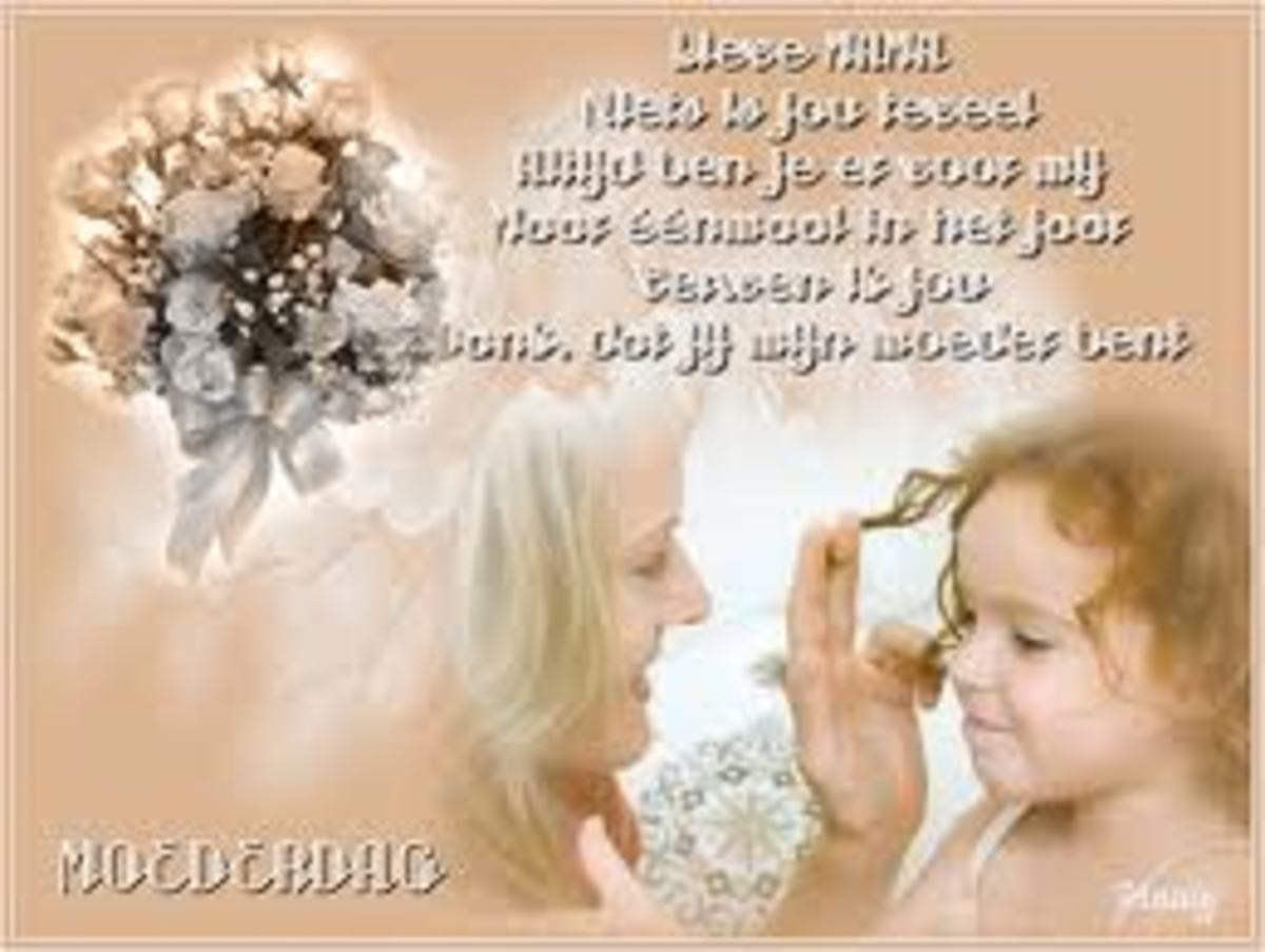 Happy Mothers Day card in Dutch - When is Mothers Day?
