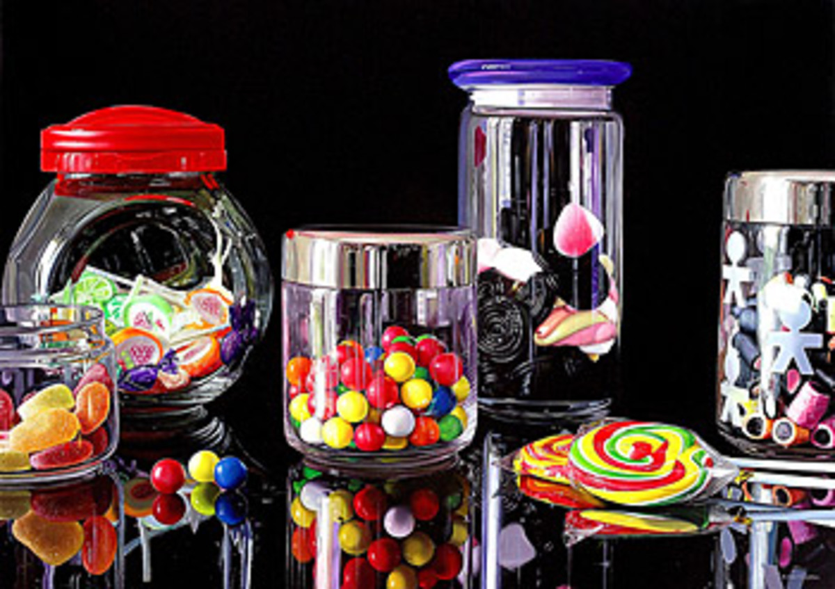 Beautiful glass jars with bright confectionary