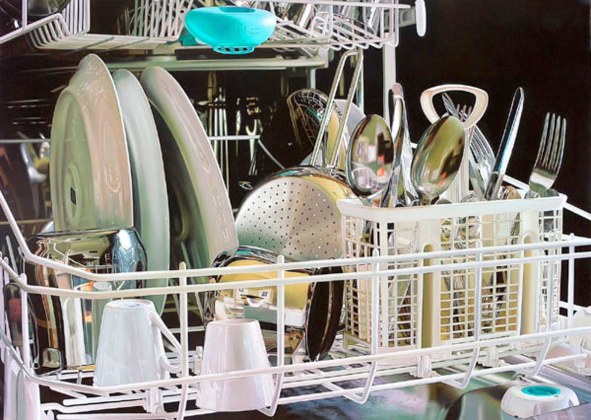 Sparkling and gleaming...dishes in the dishwasher, waiting to be removed
