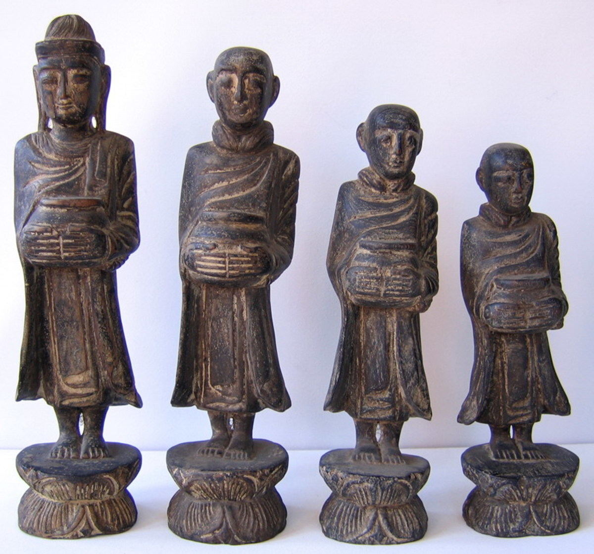 Wood Carving of the Buddha and Monks