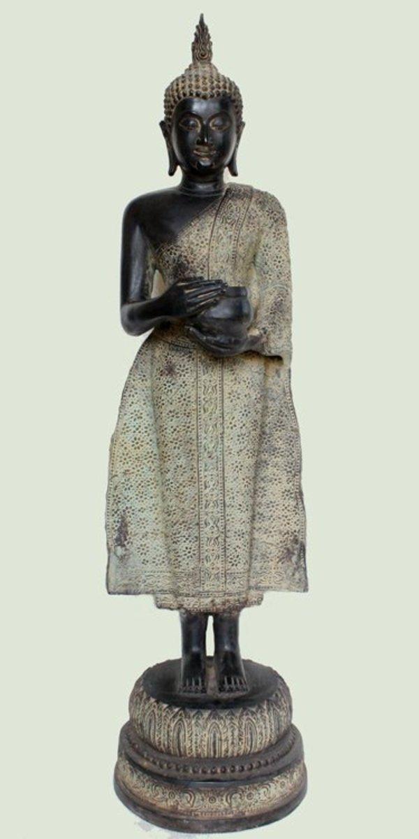 Sukhothai Style Bronze Standing Buddha - holding the food bowl on alms round