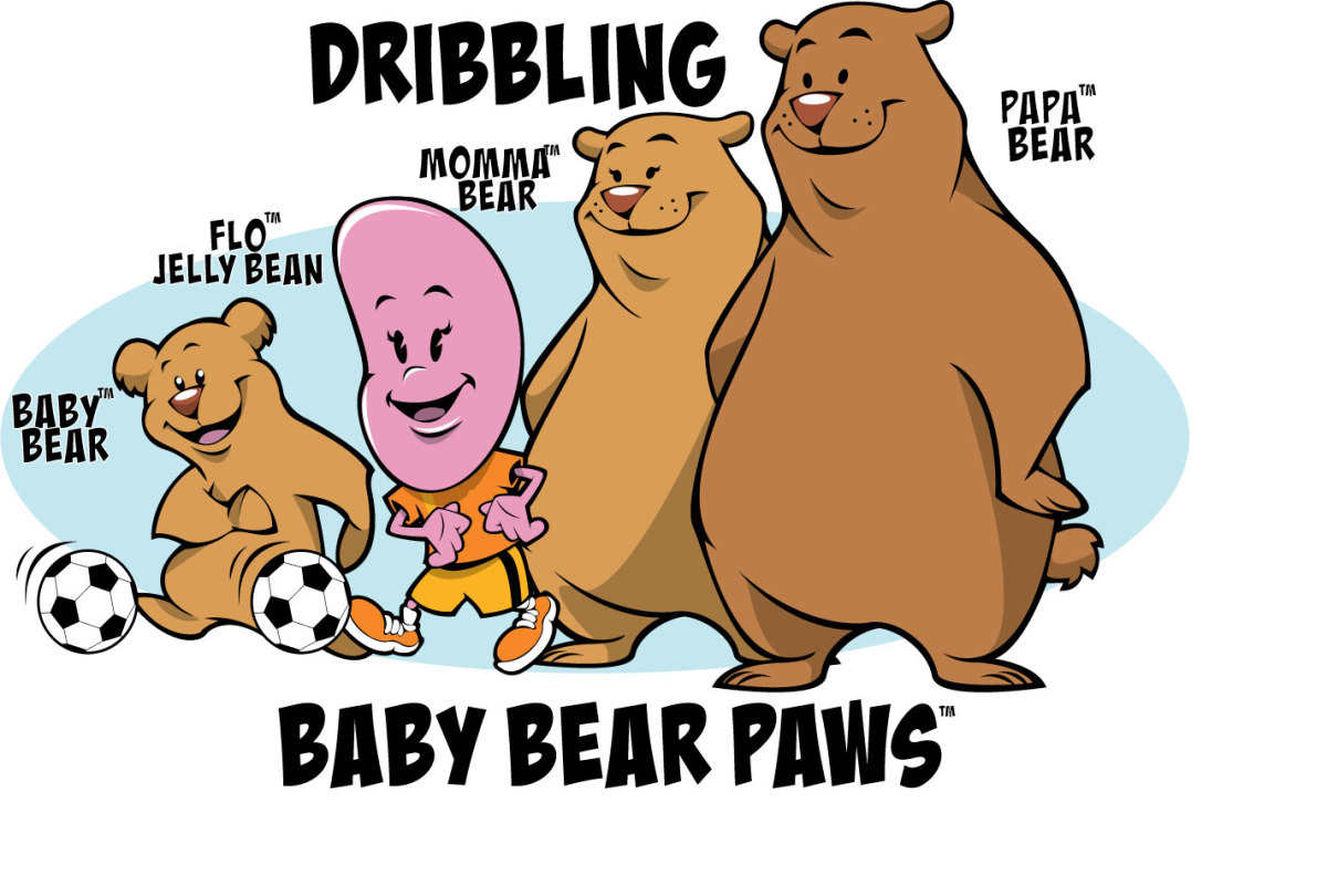 3 Bears and Flo Jelly Bean Dribbling a Soccer Ball