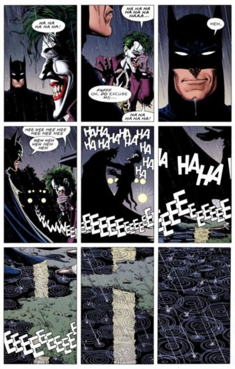 Biran Bolland and Alan Moore's Killing Joke another excellent example of a page layout and the panels are iconic. The film adaptation wasn't good, but at least it didn't mess with this scene.