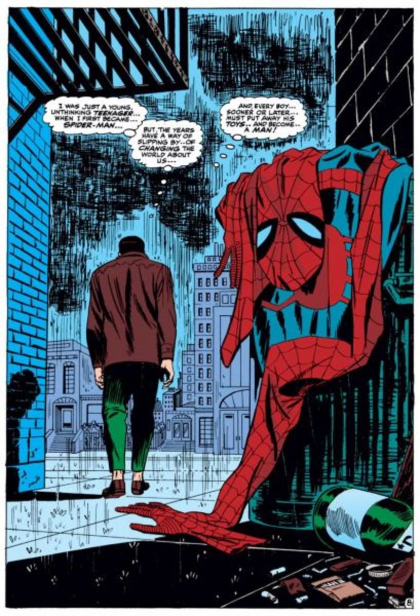 Another iconic example of a splash page of Peter Parker giving up being Spider-Man.