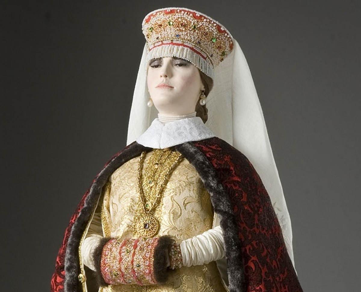 Ivan's first wife, Anastasia Romanovna, is recreated in this artwork by George S. Stuart.