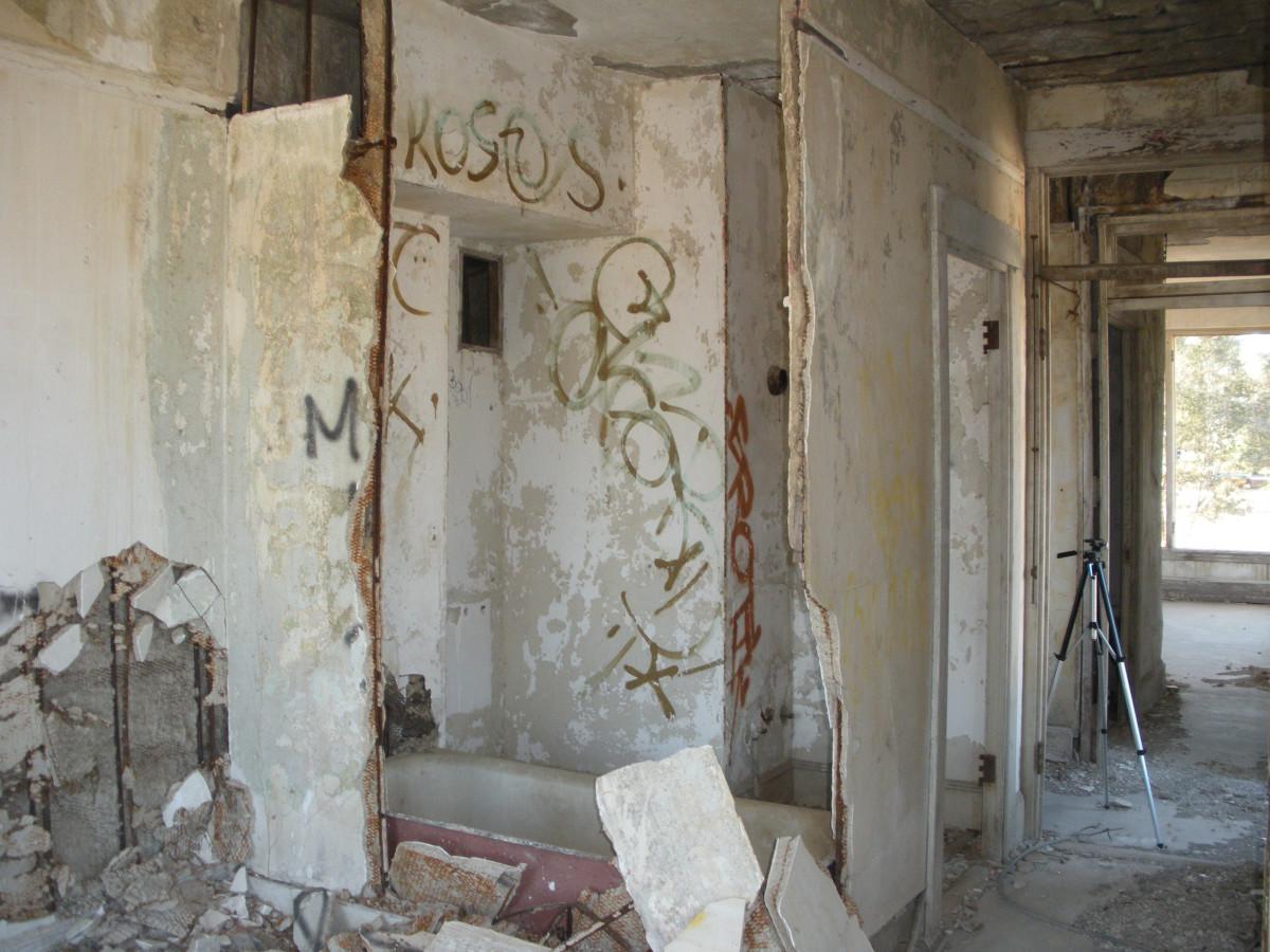 guest room bath--tub still in place--wall down