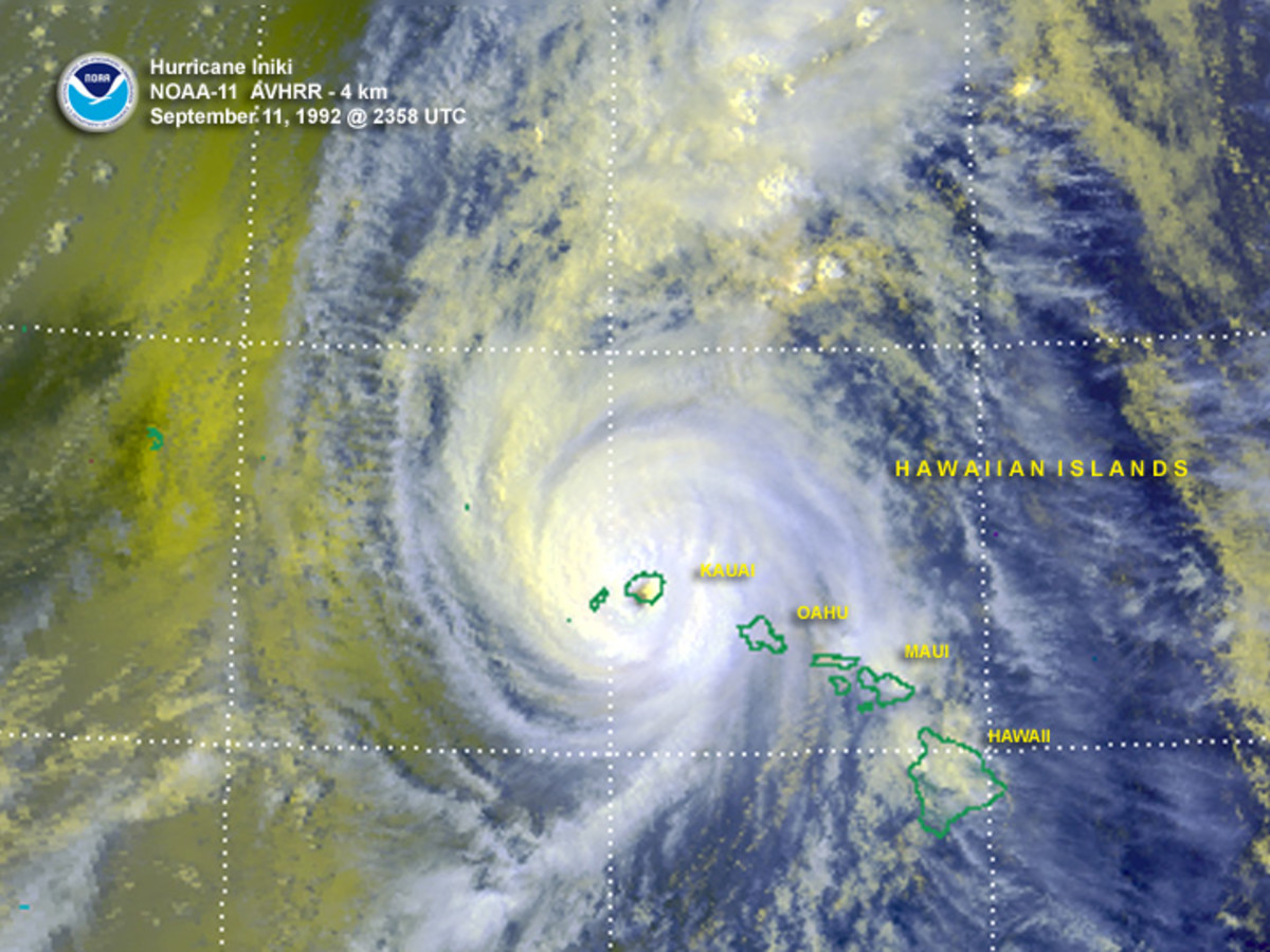 Hurricane Iniki was the most powerful hurricane to strike Hawaii, in recorded history.  Most damage was on the island of Kauai.