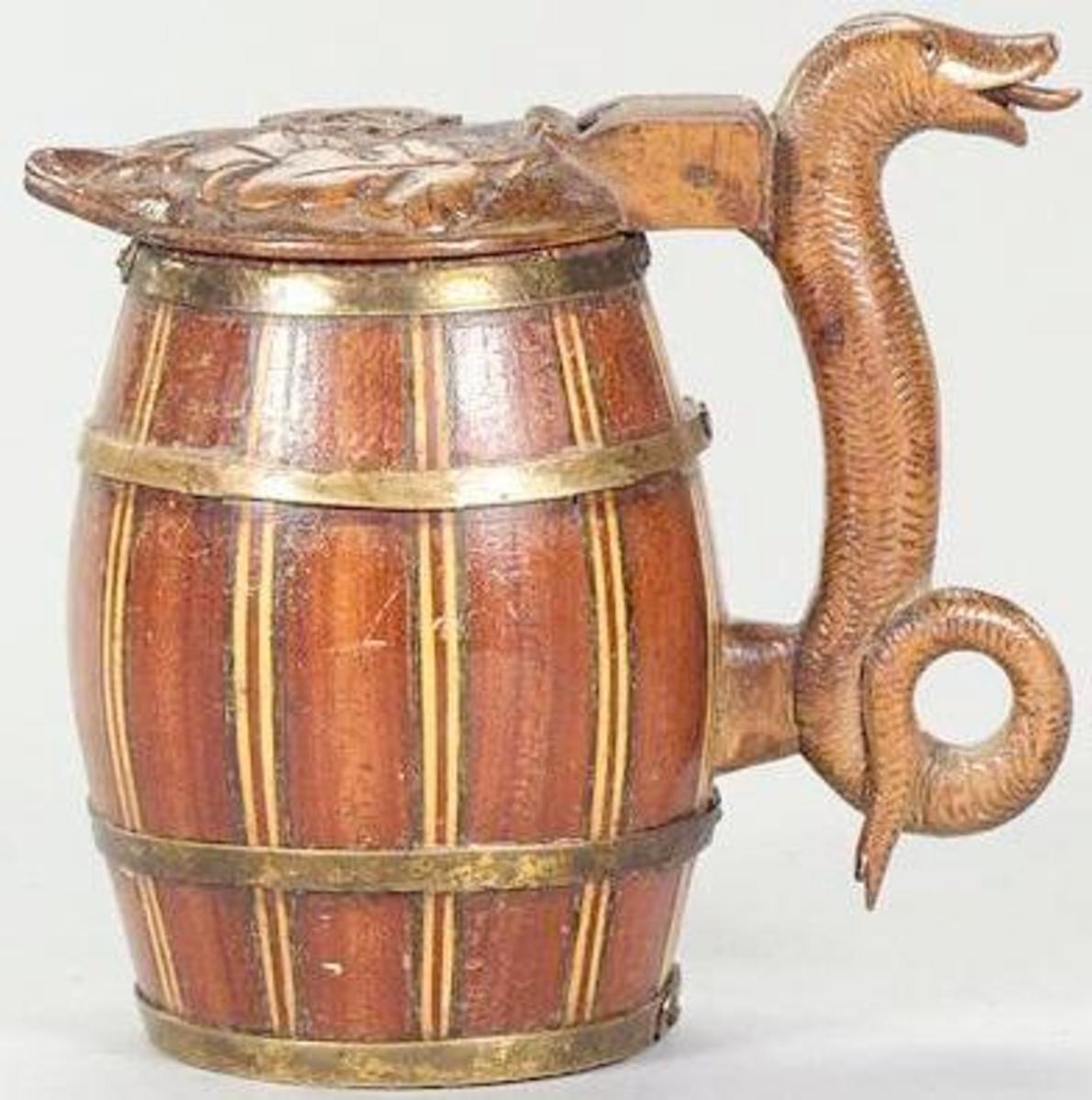 A Slovakian wooden staved stein. Circa 1850-80, source steve on steins - history of coffee mugs