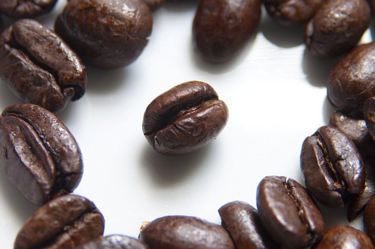 Coffee beans, source Wikipedia - history of coffee mugs