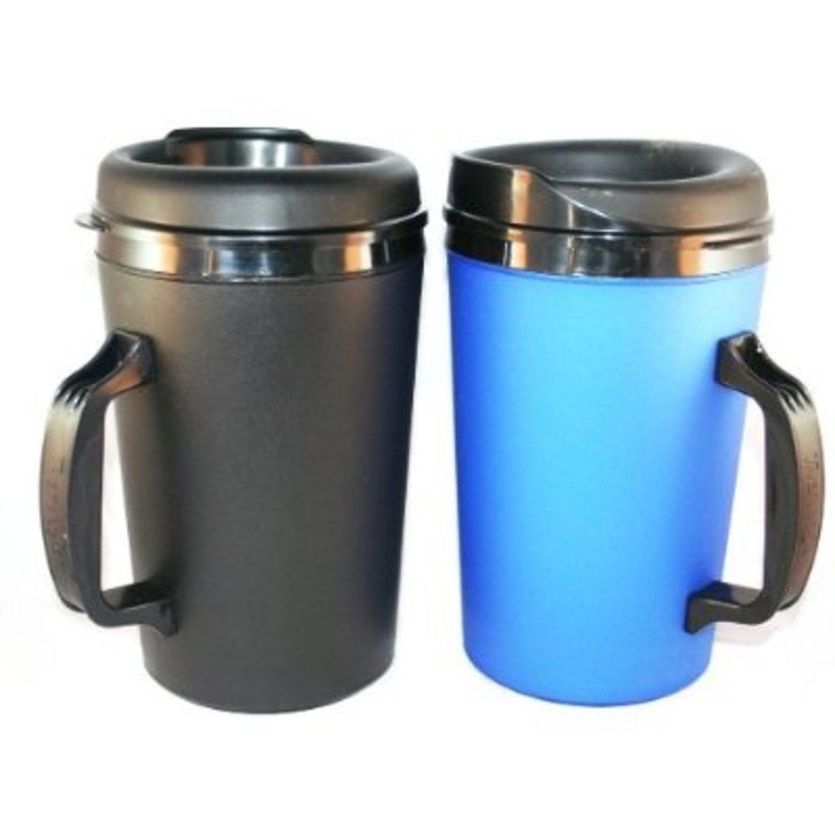 2 ThermoServ Foam Insulated Coffee Mugs 34 oz (1)Blue & (1)Black - history of coffee mugs
