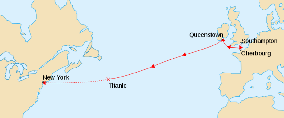Map of the position of the wreck of the Titanic in the Atlantic Ocean