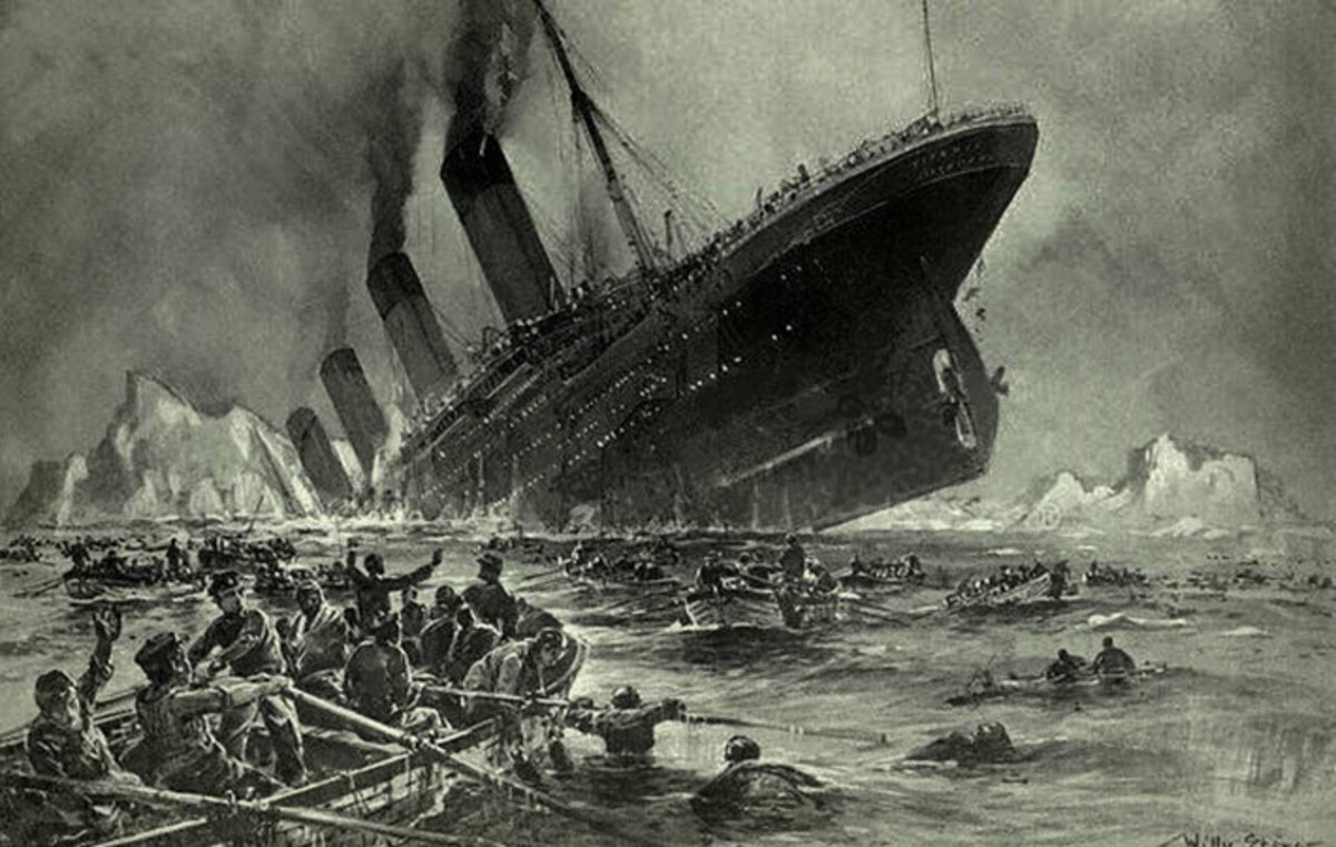 A sketch of the Titanic sinking  in 1912. by Willy Stower