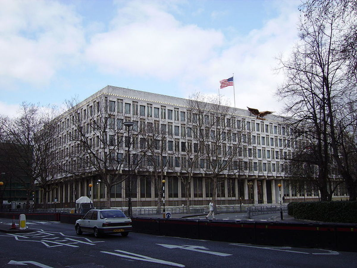 The old US Embassy in London.  At the time of writing they are building a new embassy, which will offer more secure from the modern terrorist threats, such as car bombs and suicide bombers.