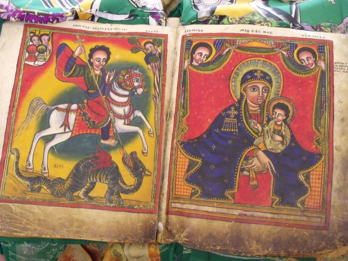 Illuminated ancient Ethiopian manuscript, with Madonna & Child and St George & the Dragon
