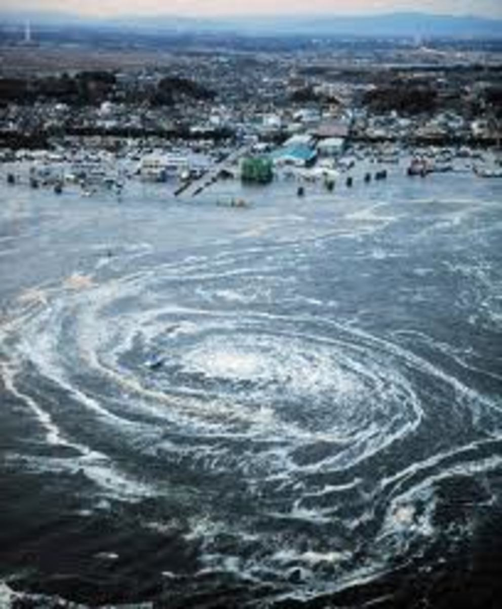 Huge Ocean water swirl or whirlpool created by the Japan Earthquake 12 March 2011