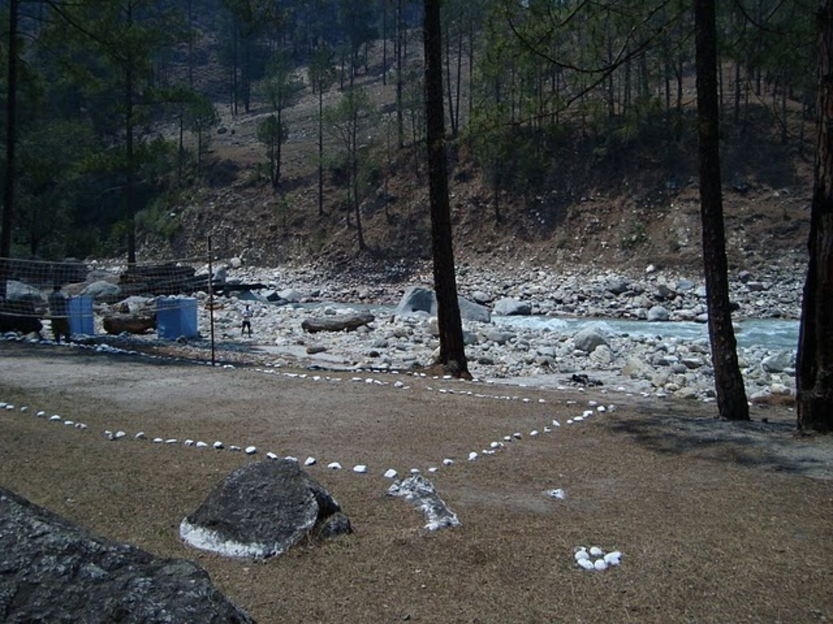 Badminton court on banks of river Tons Mori Campsite Uttaranchal India