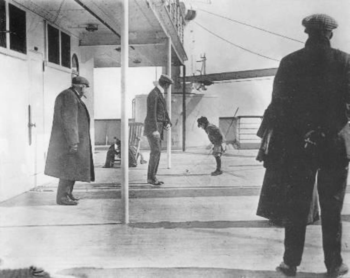 Douglas Spedden was photographed playing on the deck of the Titanic as a child.