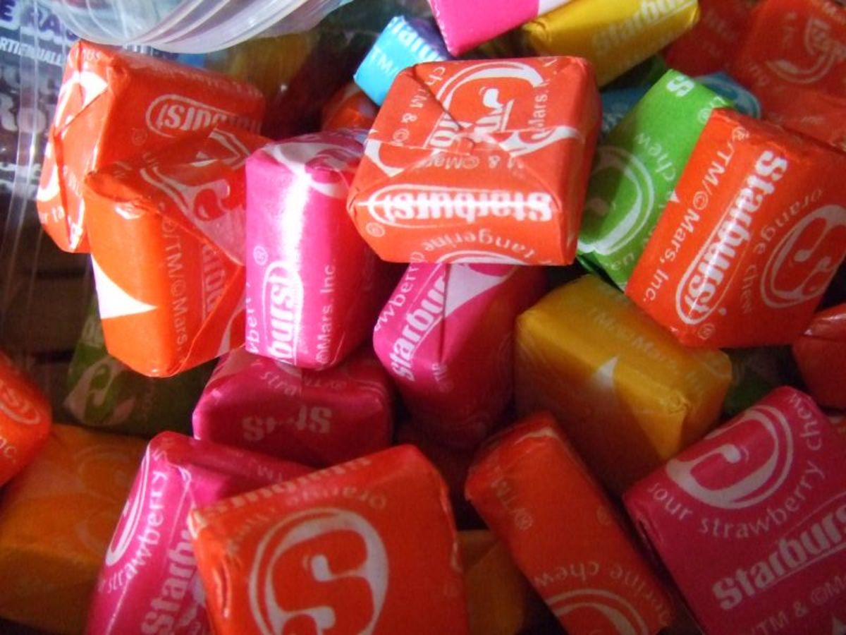 Starbursts come individually wrapped in colorful wax paper.