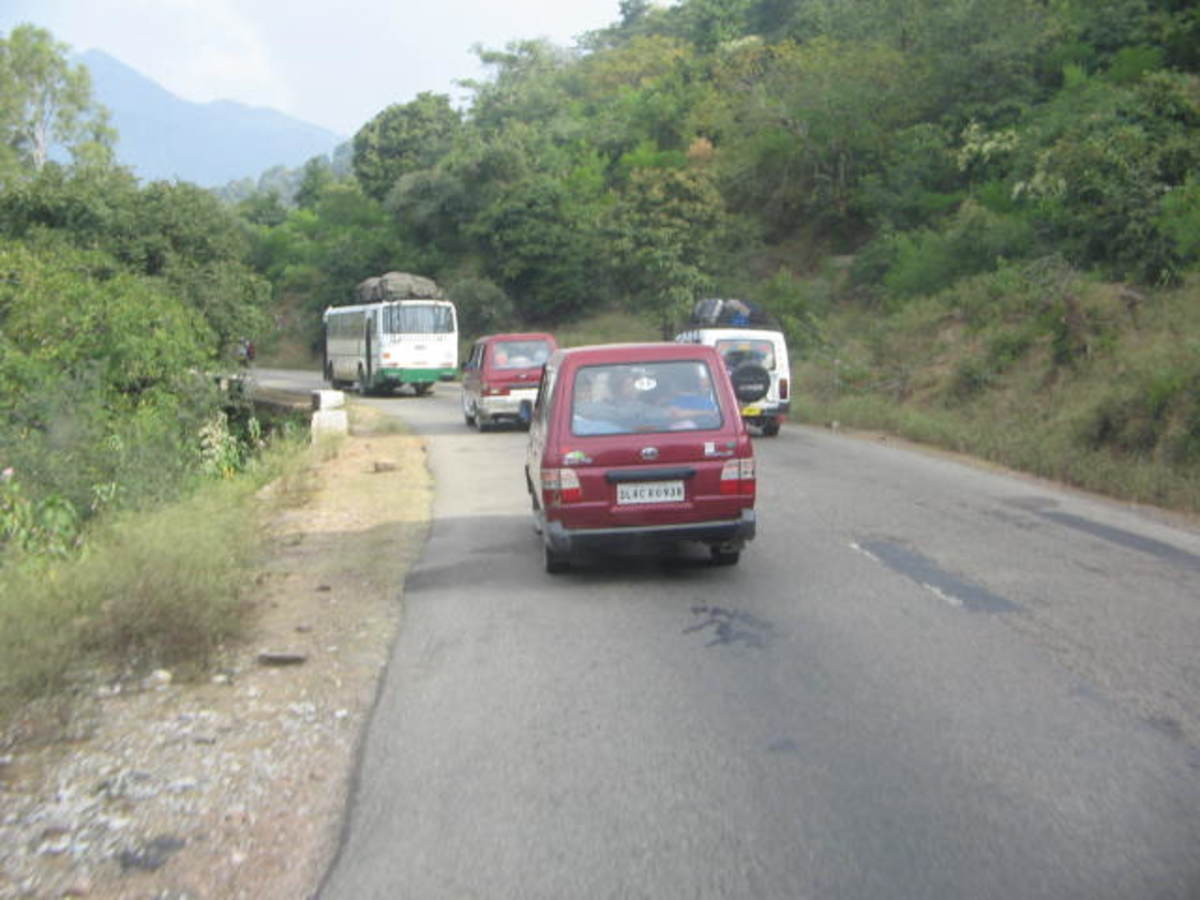 Chakrata by road pics - A convoy or caravan of vehicles approaching Kalsi