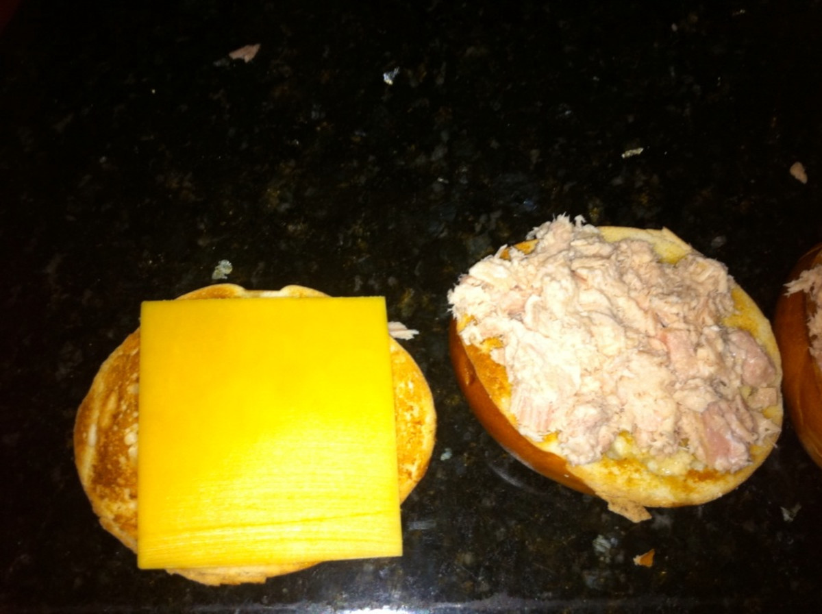 tuna and cheese on bread