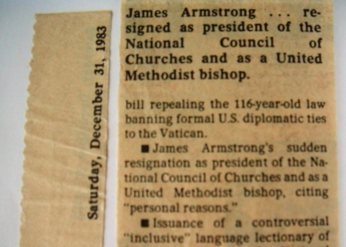 James Armstrong . . . resigned as president of the National Council of Churches and as a United Methodist Bishop, Dec. 31, 1983