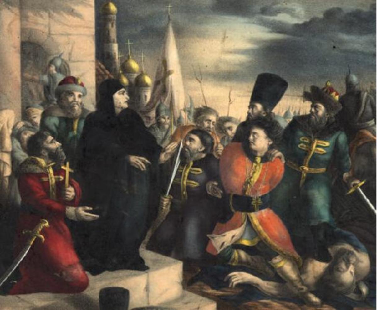 "Maria Nagaya (in black), 8th wife of Ivan IV, as she exposes the ""false Dmitry."""