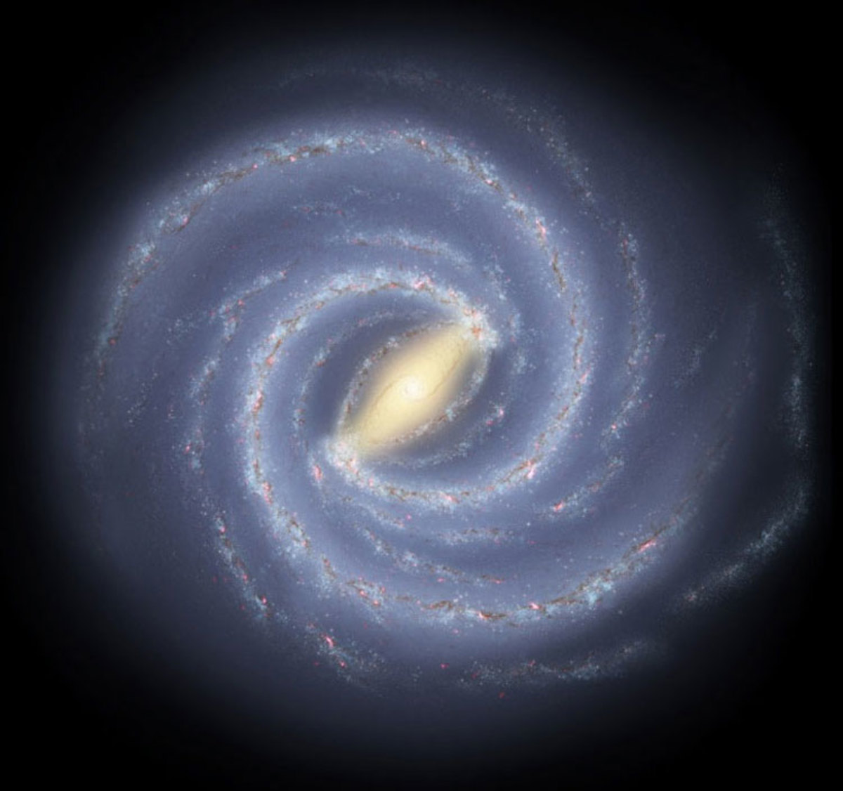 In this artist rendition we can see the milky way galaxy. Below the center and approximately four spiral arms outward, lie the sun and our solar system. Or approximately 25,000 light years from the core of the milky way