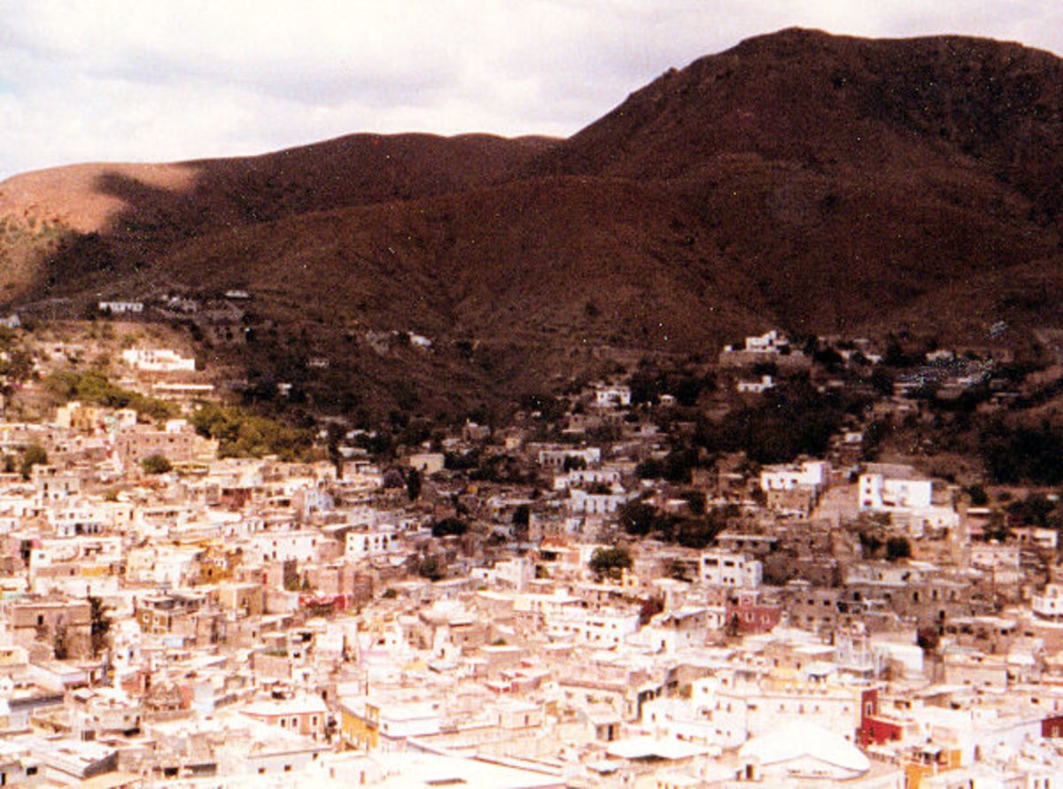 View of the city in the mountain gorge