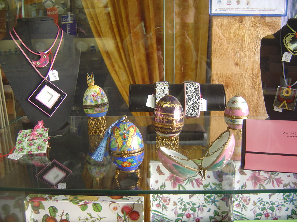 Porcelain eggs from La Vie en Rose Porcelain factory shop, Saint Junien, Limousin, France